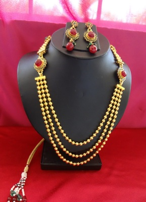 Product Name – Designer South Indian Rani Haar (Ruby round with emerald)