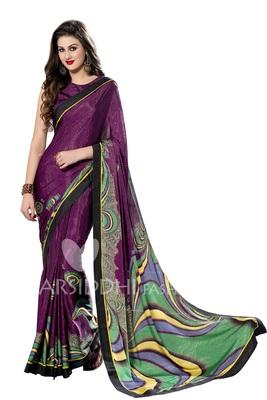 Purple printed crepe saree with blouse