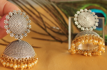 Gorgeous Oxidized Silver Jhumka With Pearl Drops Dj03102