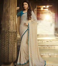 Buy Shaily Bollywood Kajal Agarwal Cream Color Georgette Saree With Embroidery georgette-saree online