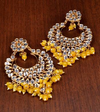 Yellow Stone and Kundan Embellished Designer Dangler Earrings