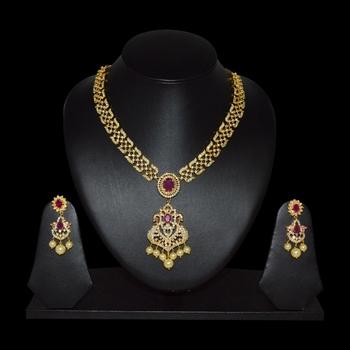 49eb1b4270c ruby real diamond jewellery design necklace set - SRI FINE JEWELLERY -  1084177