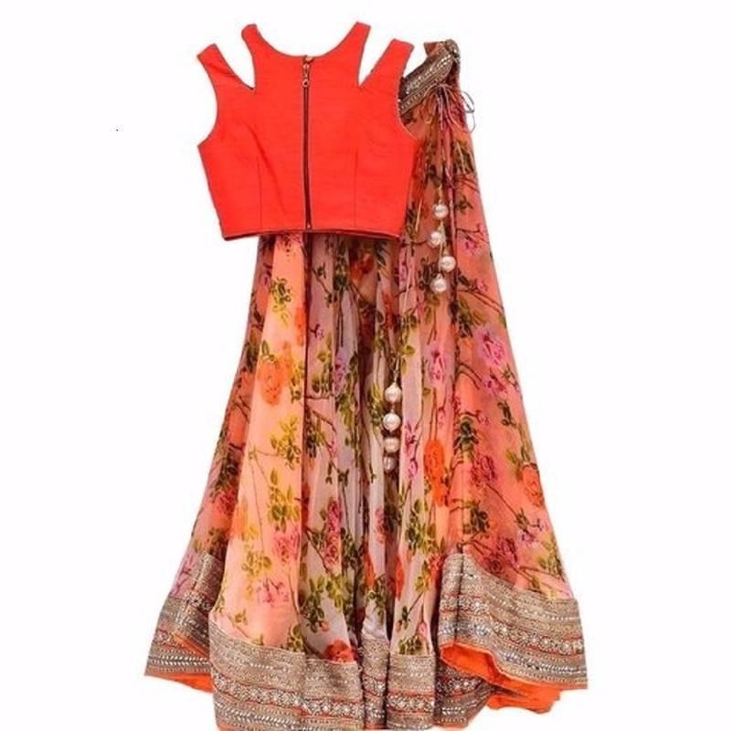 66c4a805570 orange Embroidered polyester lehenga choli - Crazy Butik - 1084312