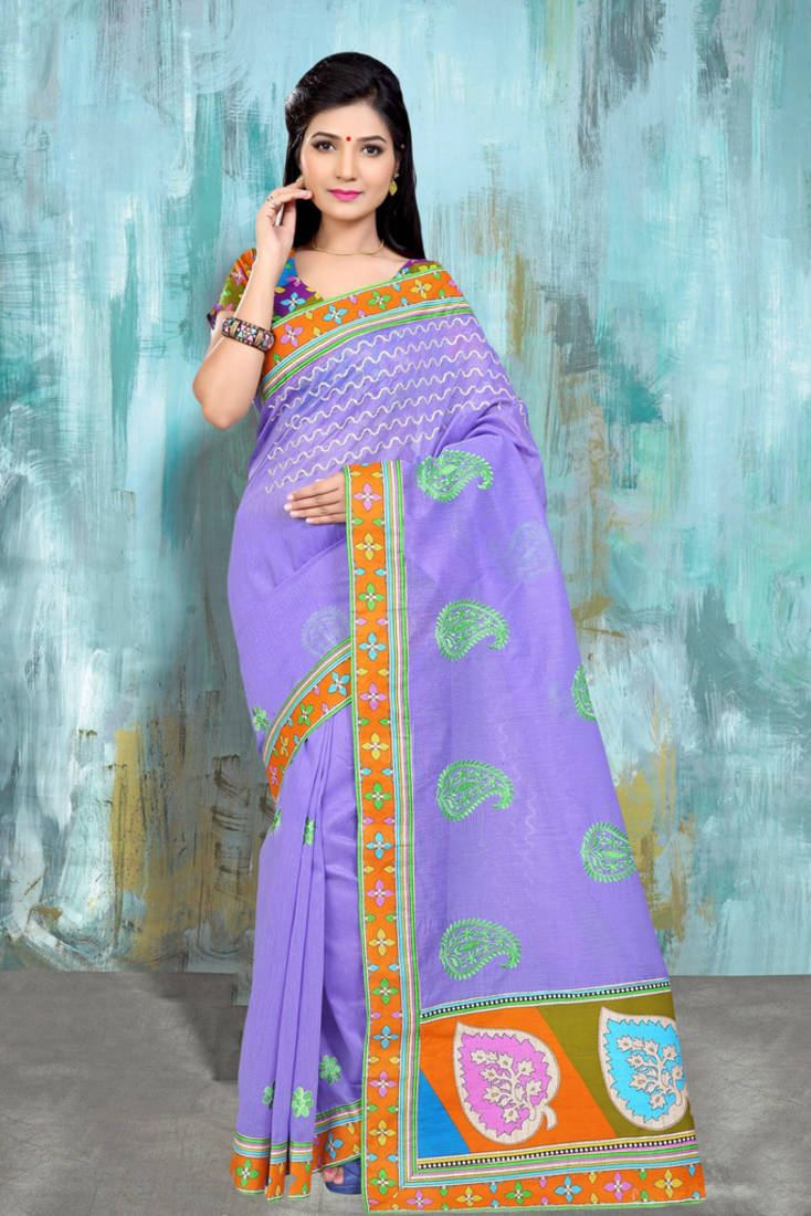 Buy Purple Embroidered Cotton Saree With Blouse Online