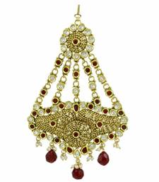 Buy Ruby Red Jadau Kundan Passa Side Jhoomer Jewellery for Women - Orniza hair-accessory online