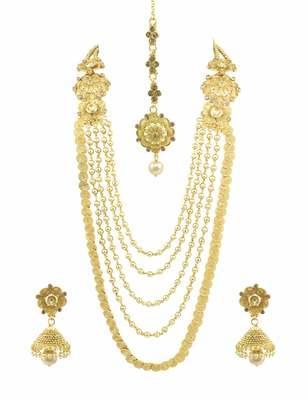 Long Golden Beige Polki Stones Necklace Set with Maang Tika Jewellery for Women - Orniza