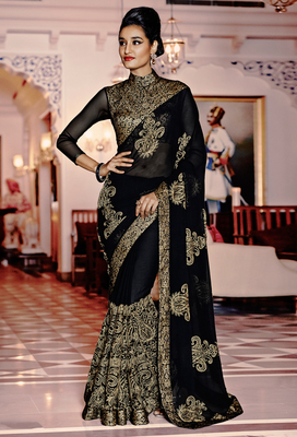 black embroidered pure georgette saree With Blouse