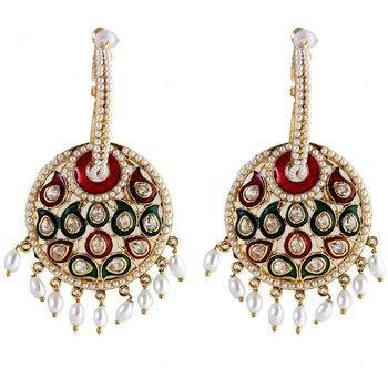 Kundan Pearl Meena Black Red Green Plated Jhumki Bali Earring