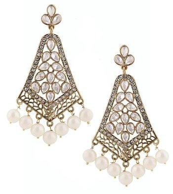 kudan look american diamond pearl long chandelier gold plat earring