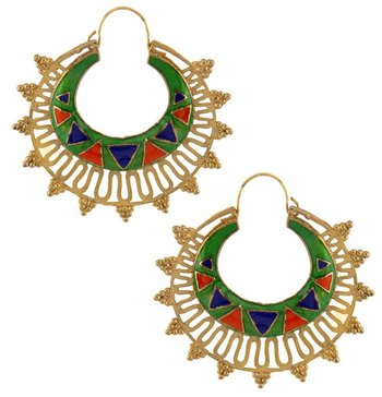 designer green meena large antique gold plated chaand bali earring