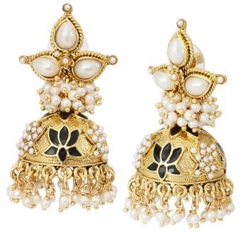 black meenakari lotus pearl jhumki earring for women