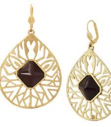 18k gold plated filigree black stone dangling earring for women