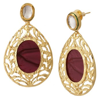 18k Gold Plated Purple Mauve Stone Kundan Dangling Earring For Women
