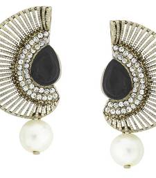 Filigree Crescent Antique Rhodium Black CZ Pearl Earring for Women