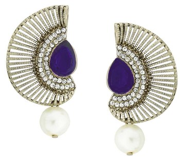 Filigree Crescent Antique Rhodium Blue CZ Pearl Earring for Women