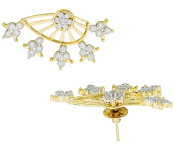 Tri Flower 18K Gold Plated Ear Cuff Jacket Pair Stud Earring for Women