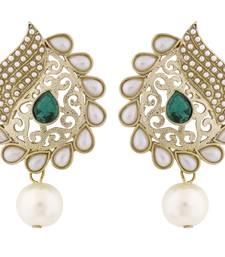 Buy Paisley Filigree Antique Rhodium Pearl Green Earring for Women stud online