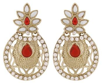 Flower Filigree Antique Rhodium Pearl Red Earring for Women