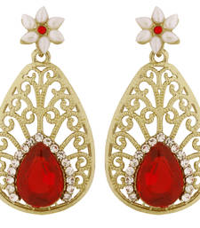 Pear Flower Filigree Antique Rhodium Pearl Red Earring for Women