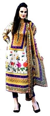 White Satin  Unstitched Salwar With Dupatta