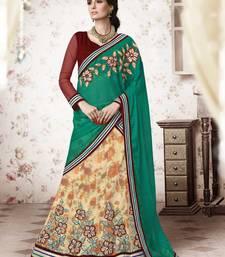 Cream embroidered Net unstitched navratri-lehenga-chaniya-choli