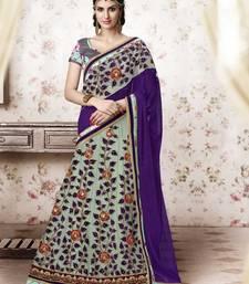 Sea Green embroidered Net and Printed Silk unstitched navratri-lehenga-chaniya-choli