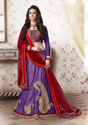 Purple embroidered Net unstitched navratri-lehenga-chaniya-choli