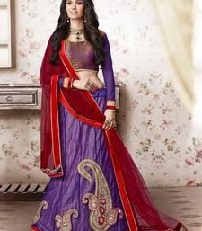 Purple embroidered Net unstitched navratri-lehenga-chaniya-choli