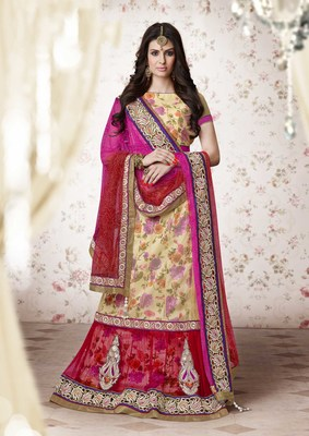 Cream and Red embroidered Net unstitched navratri-lehenga-chaniya-choli