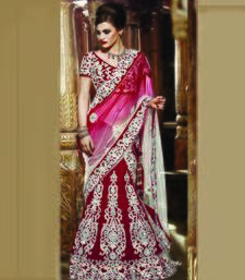Red Embroidered Velvet Unstitched Navratri Lehenga Chaniya Choli