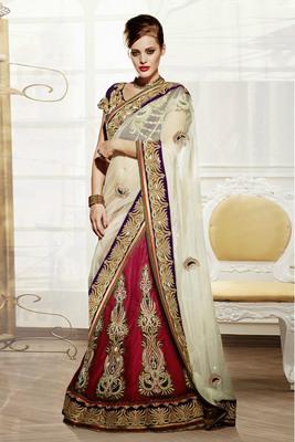 Shaded Red Embroidered Net And Satin Unstitched Navratri Lehenga Chaniya Choli