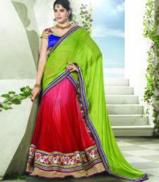 Red Color Net Designer Semi  Stitched Lehenga Choli
