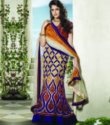 Beige Embroidered Net Unstitched Navratri Lehenga Chaniya Choli