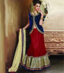 Red and Beige embroidered Net unstitched navratri-lehenga-chaniya-choli