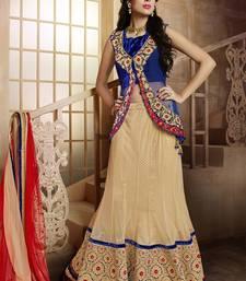 Beige embroidered Net and Art Silk unstitched navratri-lehenga-chaniya-choli