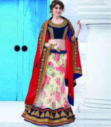 Buy Cream net embroidered unstithched lehenga choli lehenga-choli online