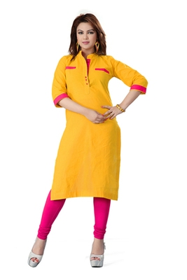 Yellow cotton plain kurti