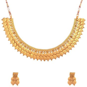 Twin Lakshmi Coin Ginni Gold Plated Temple Antique Necklace Earring Set for Women