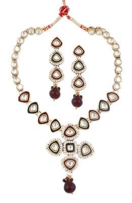 maroon green meenakari enamel kundan gold plat necklace earring set