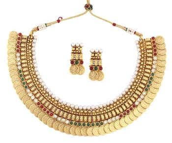 gold plated pearl red green intricate necklace earring temple set