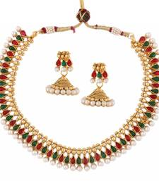 traditional temple gold plated red green pearl necklace earring set