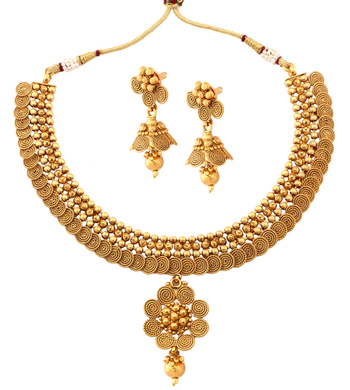 Gold Plated Traditional necklace earring set