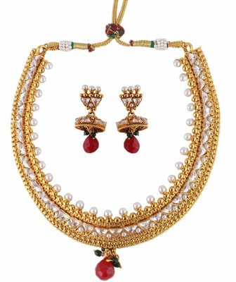 Traditional Choker Kundan Gold Plated Necklace Earring Set for Women