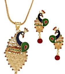 Filigree Peacock Gold Plated Meenakari Pendant Chain Earring Set for Women