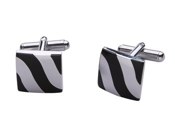 Wave Stripe Square Black Silver Enamel Rhodium Plated High Quality Brass Cufflink Pair for Men