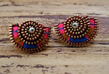 color block night shine zip handmade studs