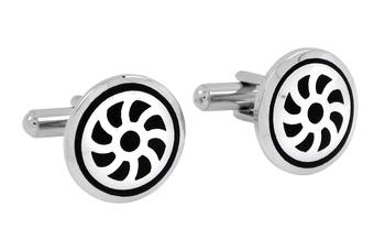 Wheel Black Round Rhodium Plated Brass Cufflink Pair for Men