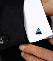 Buy Triangle Blue Rhodium Plated Brass Cufflink Pair for Men fashion-deal online