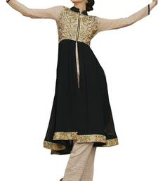Beige and black georgette embroidered kurti