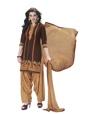 Brown pure cotton cambric embroidered unstitched salwar with dupatta